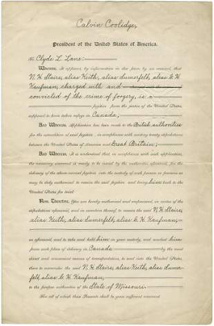 Calvin Coolidge Signed Extradition Papers for
