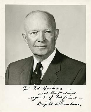 Dwight Eisenhower Superb Signed Photo to Fellow