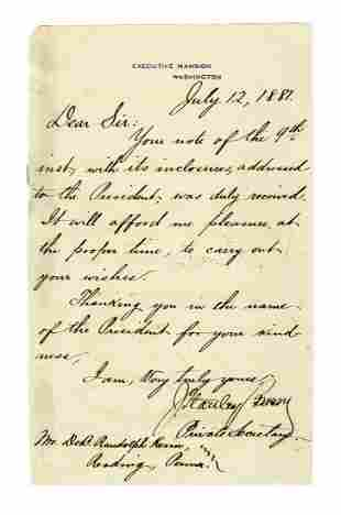 Garfield Assassination Private Letter One Week After