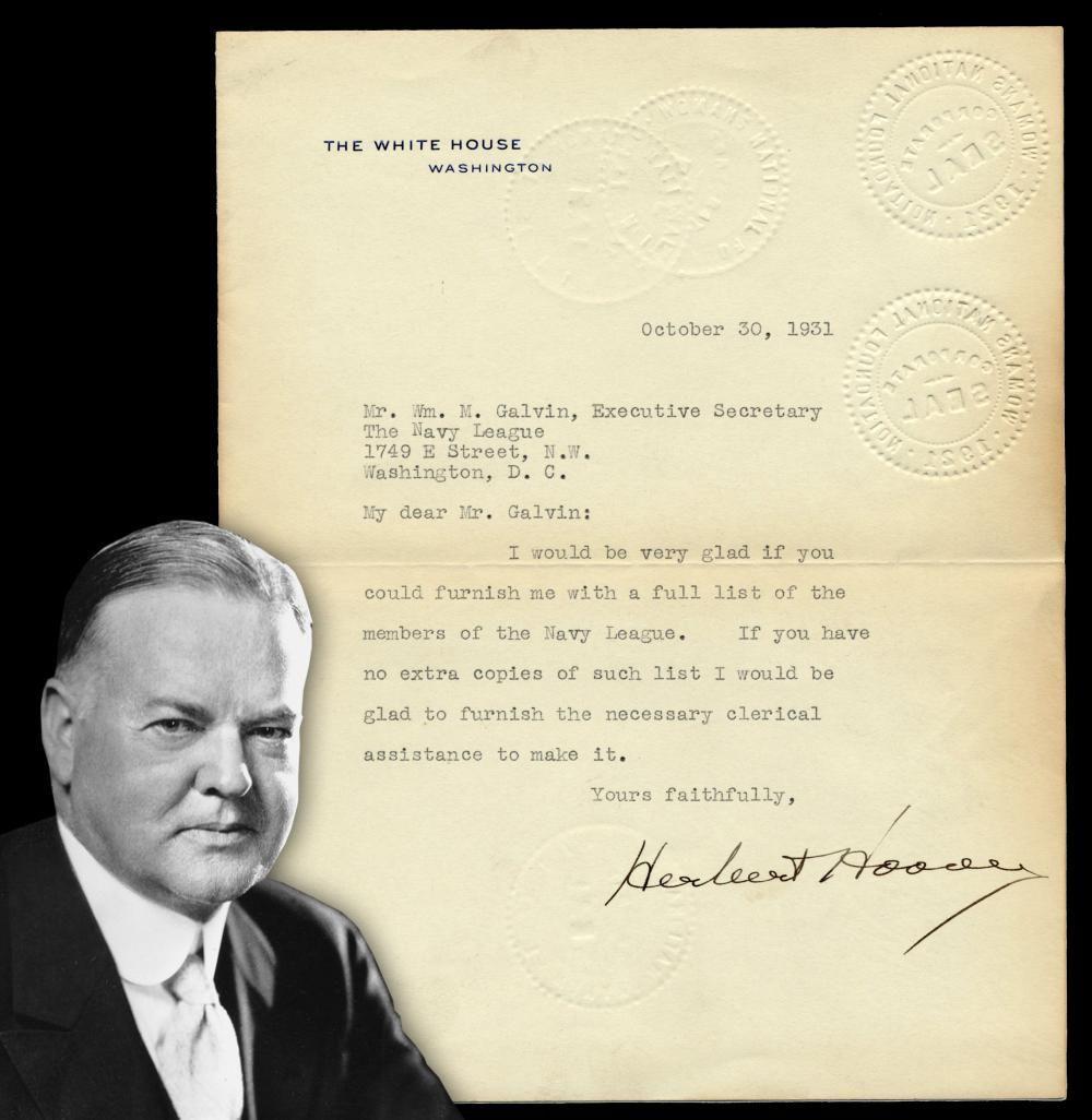 Herbert Hoover TLS Re: the Navy League