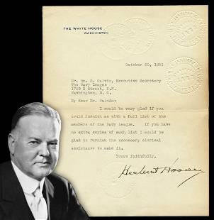 Herbert Hoover TLS Re the Navy League