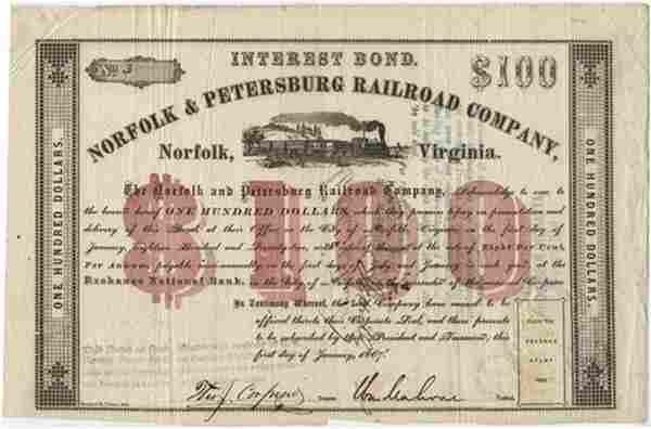 Pristine Railroad Stock Certificate Signed by Civil War