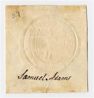 Declaration Signer Samuel Adams Superb Signature, With