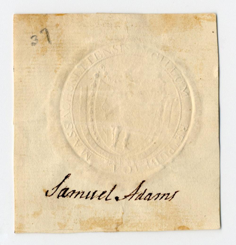 Declaration Signer Samuel Adams Superb Signature, With