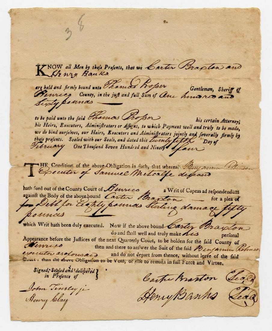 Declaration Signer Carter Braxton Superb DS Witnessed