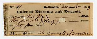 Declaration Signer Charles Carroll Superb Signature on