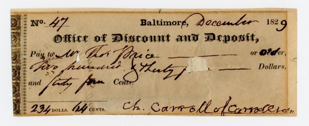 Declaration Signer Charles Carroll Superb Signature on