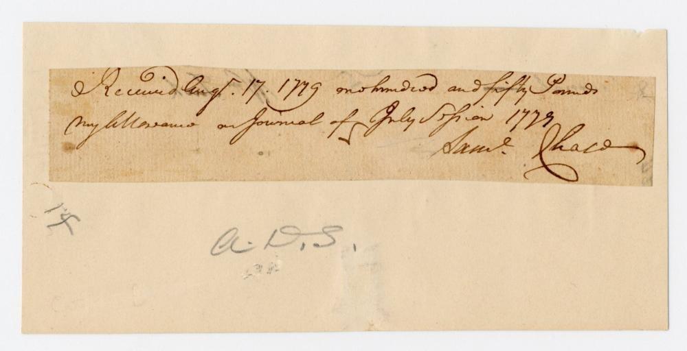 Declaration Signer Samuel Chase War Dated Document