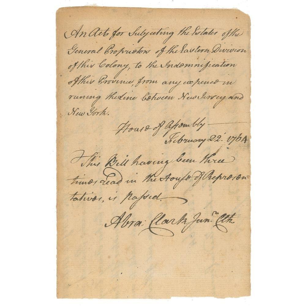 "Declaration Signer Abraham Clark Signs a Bill Re: ""The"