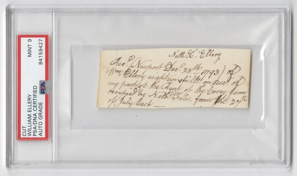 Declaration Signer William Ellery Autograph Document