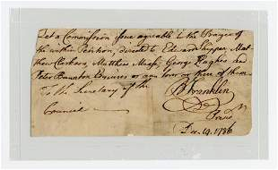 Declaration Signer Benjamin Franklin Bold Signature on