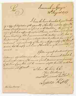 Declaration Signer Lyman Hall Superb Letter 1783