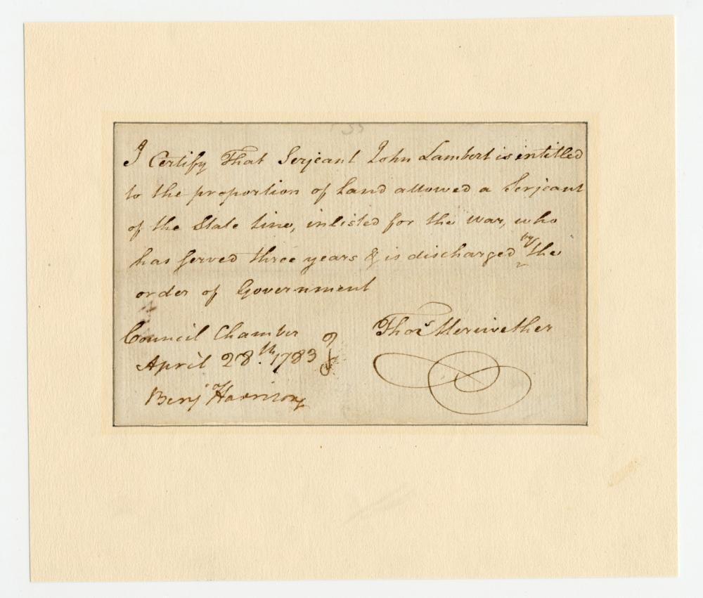 Declaration Signer Benjamin Harrison Superb DS