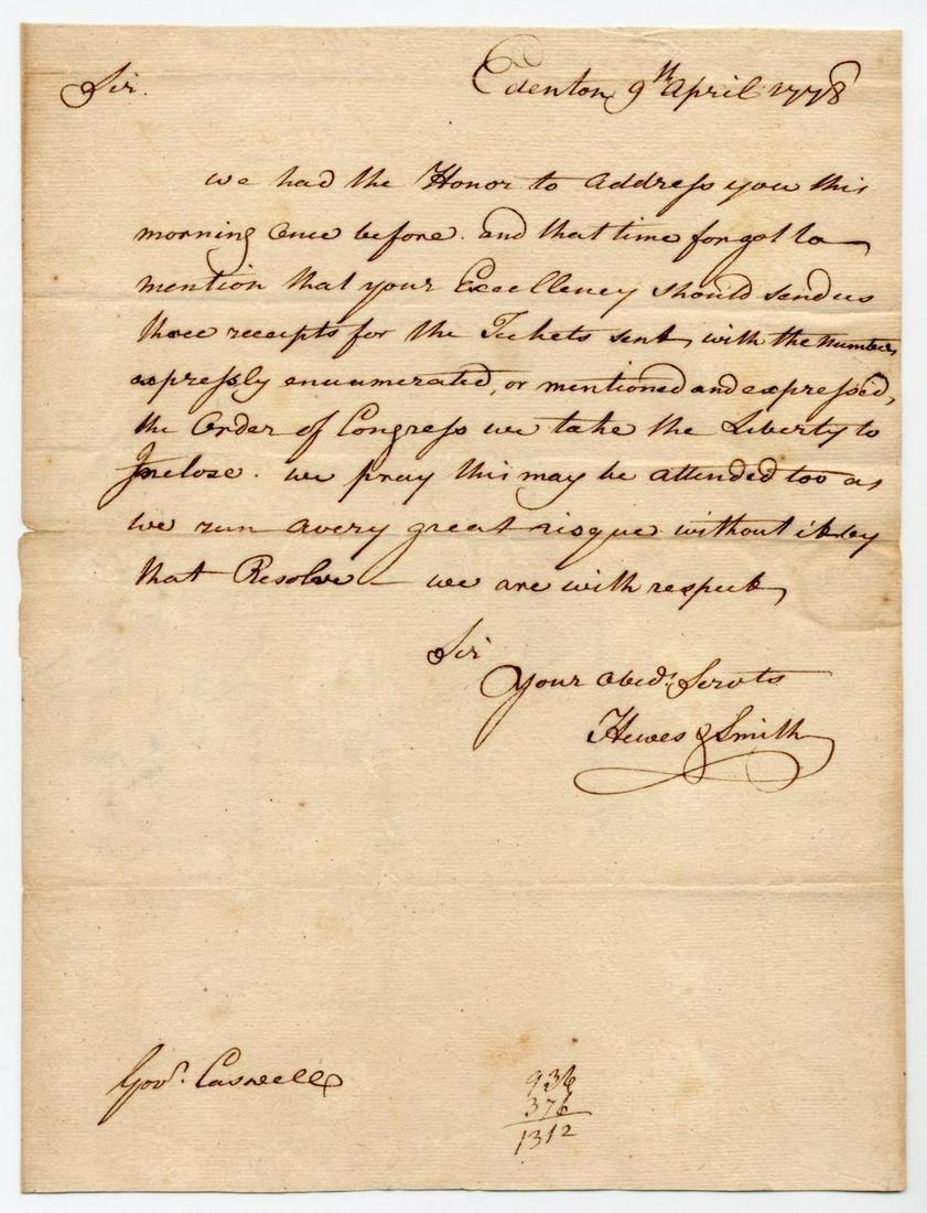 "Declaration Signer Joseph Hewes on ""Order of Congress"""