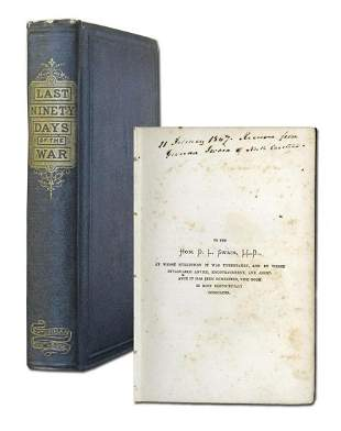 James Buchanan and Harriet Lane Inscribe Book on End of