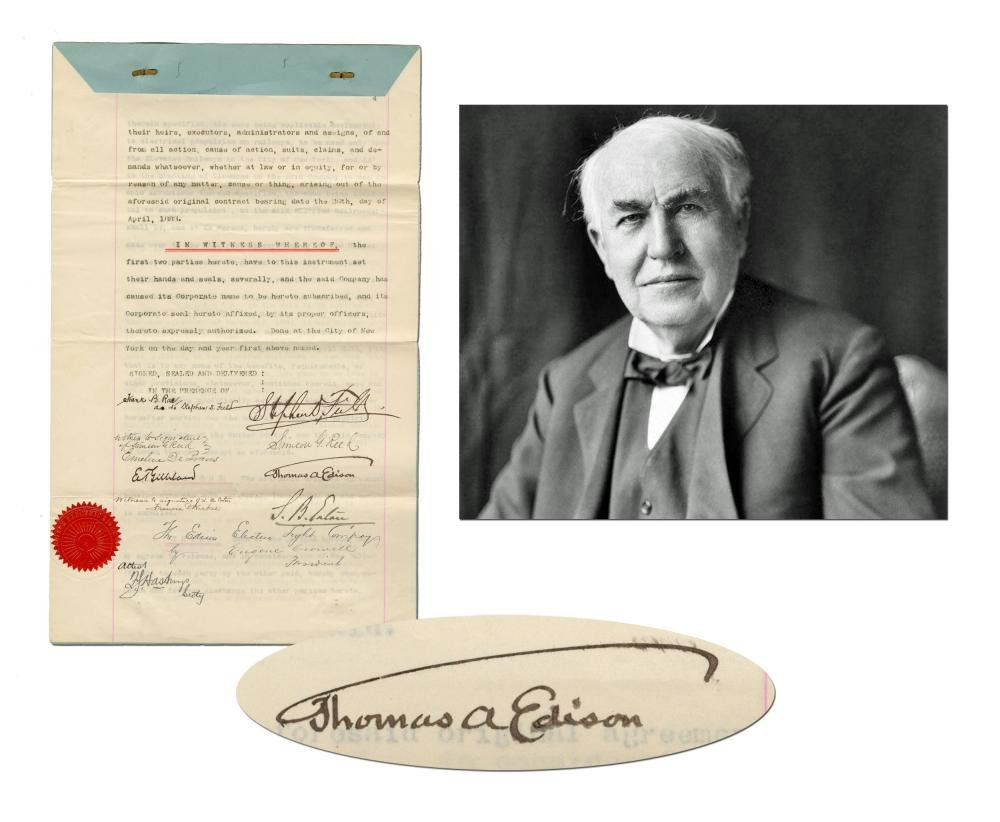 Thomas Edison 1885 Contract from his Electric Light