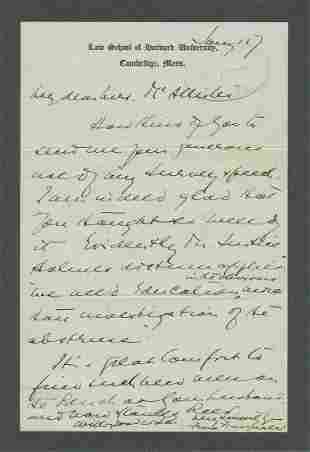 Felix Frankfurter Letter to Leader of Democratic Women