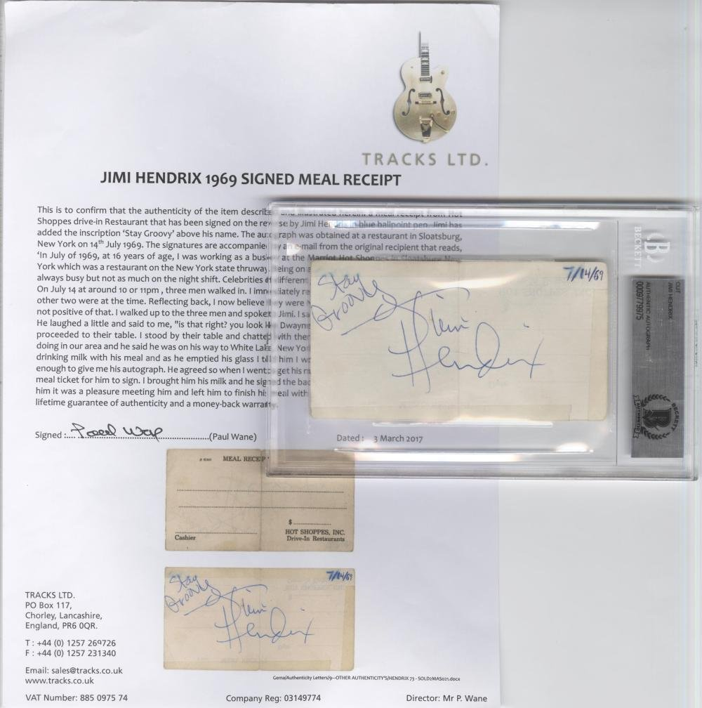 Jimi Hendrix Signed Ticket, Authenticated and