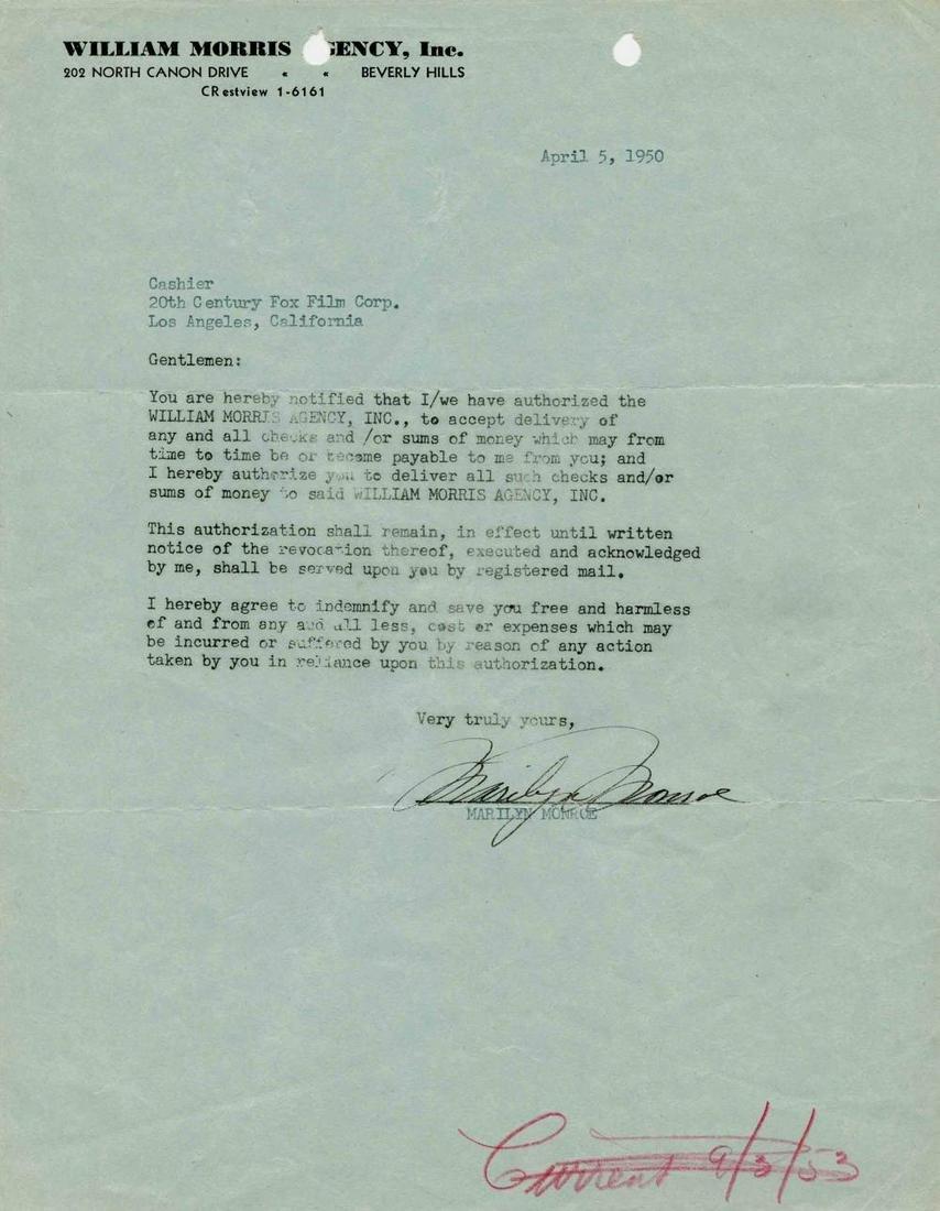 Marilyn Monroe LS Re: Talent Agency William Morris, the