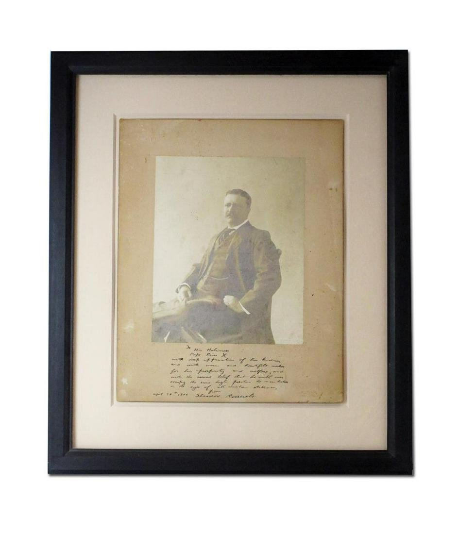 Teddy Roosevelt Signed Photo to Pope Pius X, Simply the