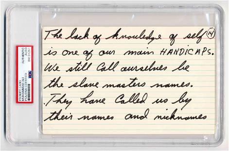 Muhammad Ali Handwritten Prompt Card Re: Race