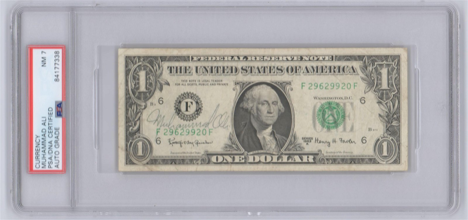 Muhmmad Ali Signed, and PSA Encapsulated Dollar Bill.