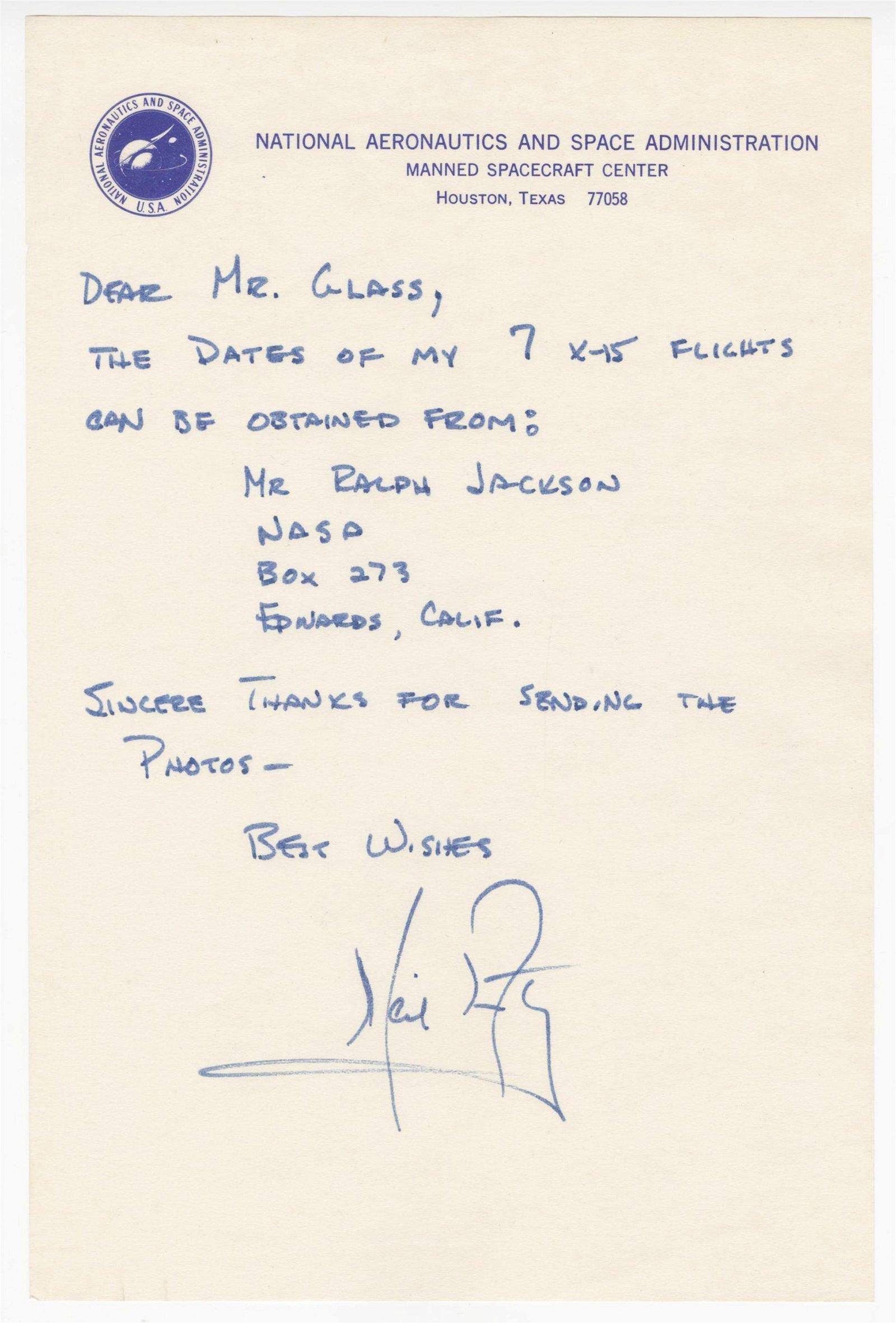 Neil Armstrong ALS on NASA Letterhead Regarding His