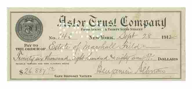 Benjamin Altman Signed Check to Astor Worth 700000