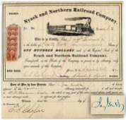Jay Gould Signed Railroad Stock Certificate, Less than