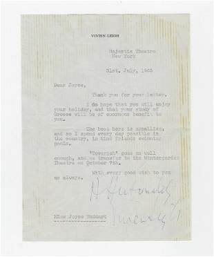 Vivian Leigh Writes to Joyce Huddart a Personal Friend
