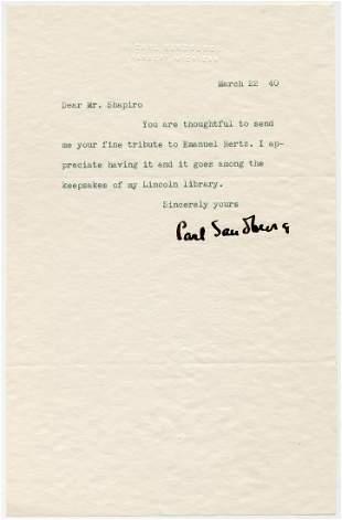 Carl Sandburg TLS mentioning his Lincoln Library