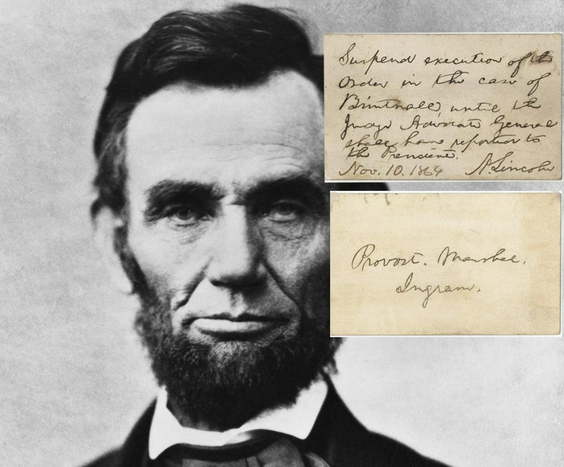 Abraham Lincoln Signed Order to Suspend Execution