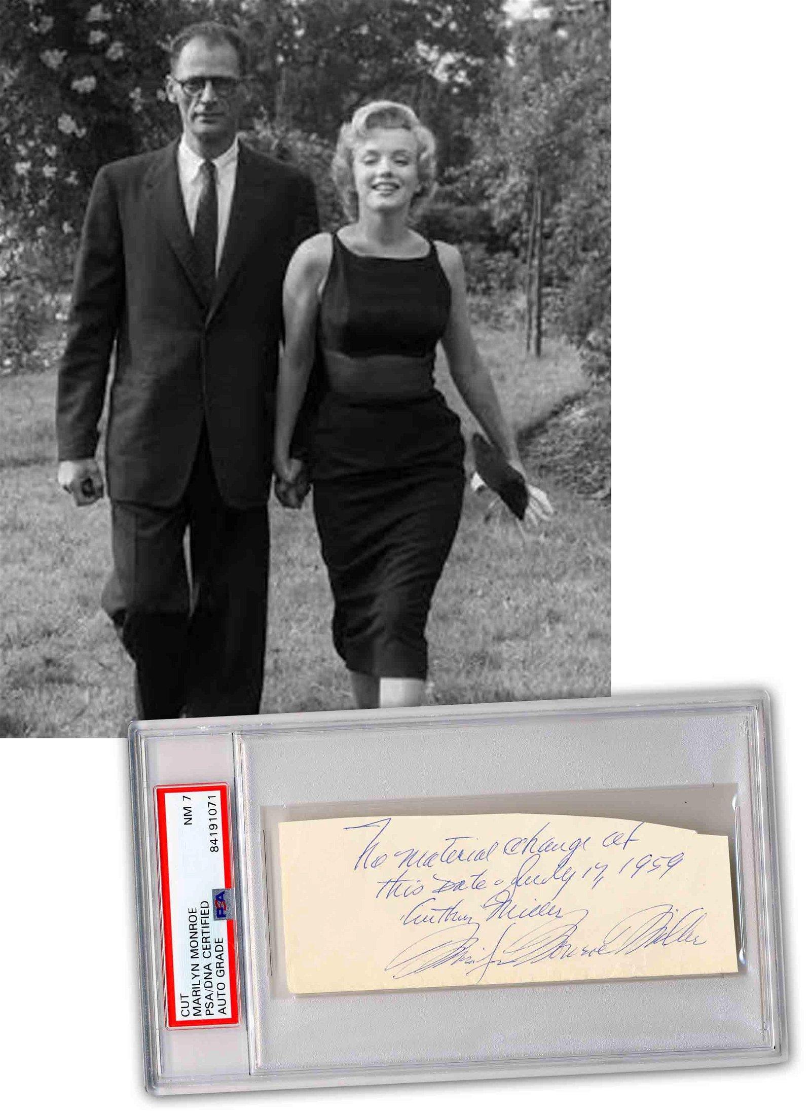 Marilyn Monroe & Arthur Miller Signed ANS, PSA Slabbed