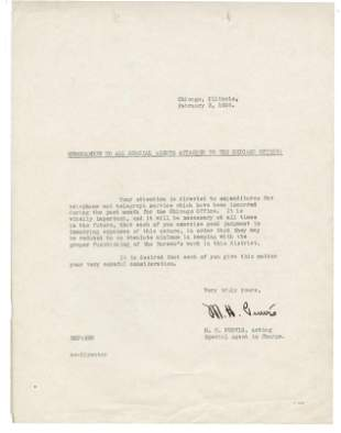 FBI Melvin Purvis Letter in Year of Capones