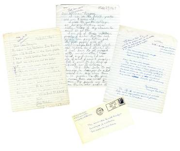 Ronald Reagan receives three notes from his youngest
