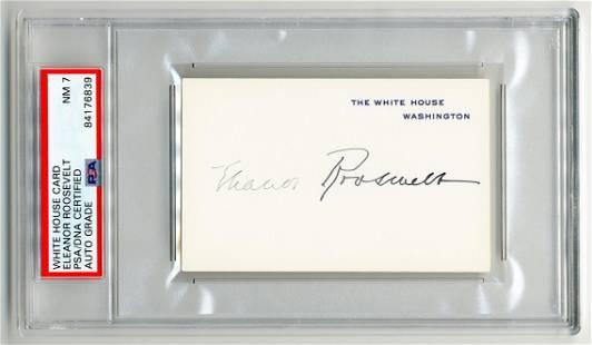 Eleanor Roosevelt Signed WH Card PSA Slabbed Graded