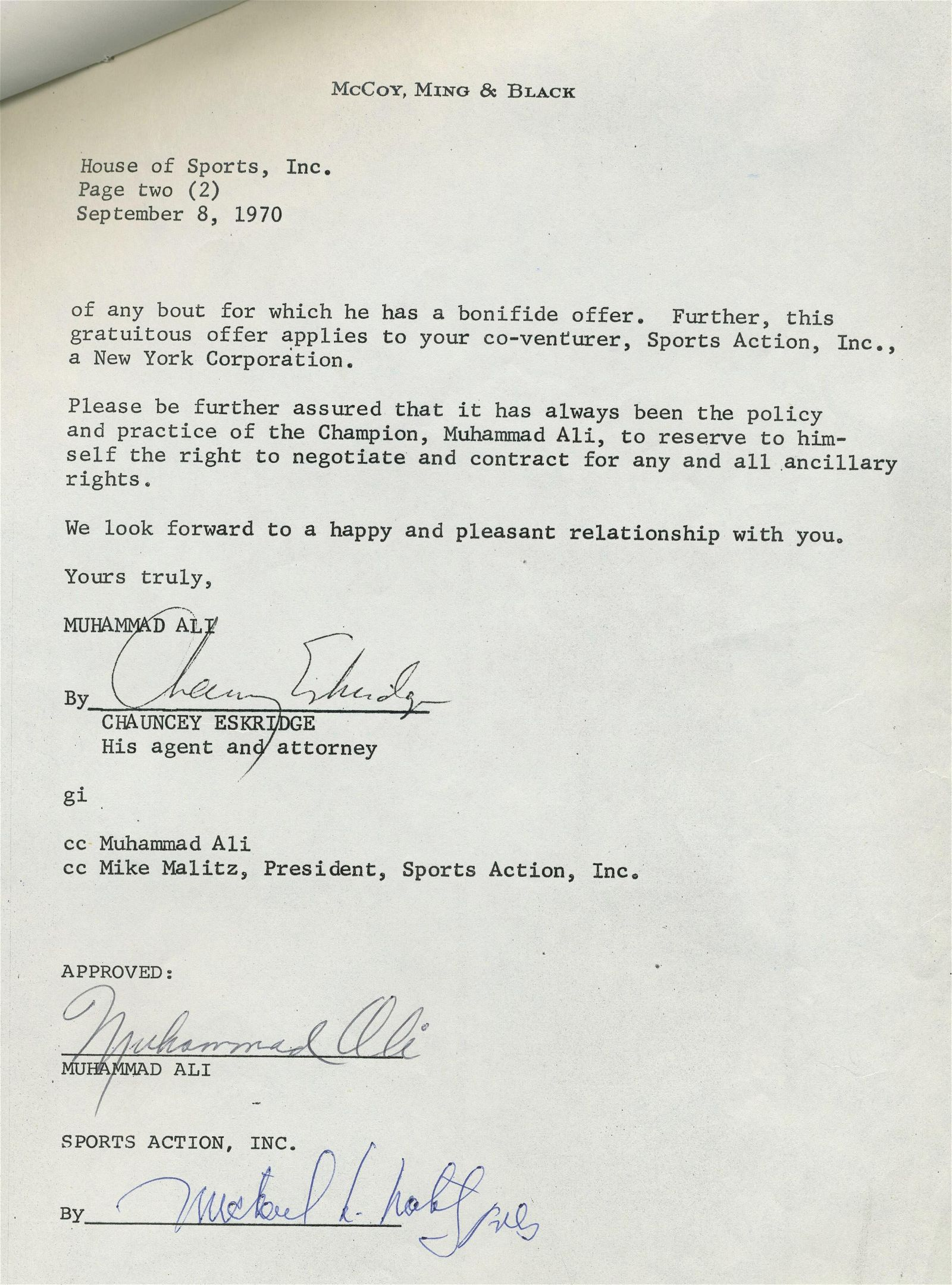 Ali vs. Quarry Signed Fight Contract