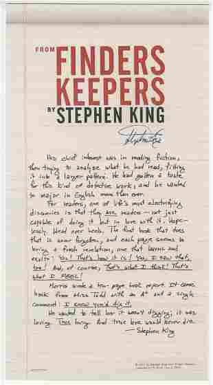 Stephen King Signed Promo for Finders Keepers