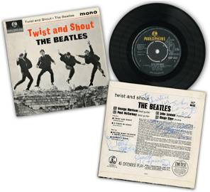 """""""The Beatles"""", All 4 Members, Signed """"Twist & Shout"""""""