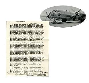 Bockscar Co-Pilot Olivi Autographs First Page of ""
