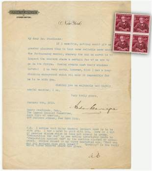 Andrew Carnegie, Remarkable 2x Signed TLS on Airplanes,