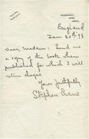 Stephen Crane Rare ALS Send me a copy of the book