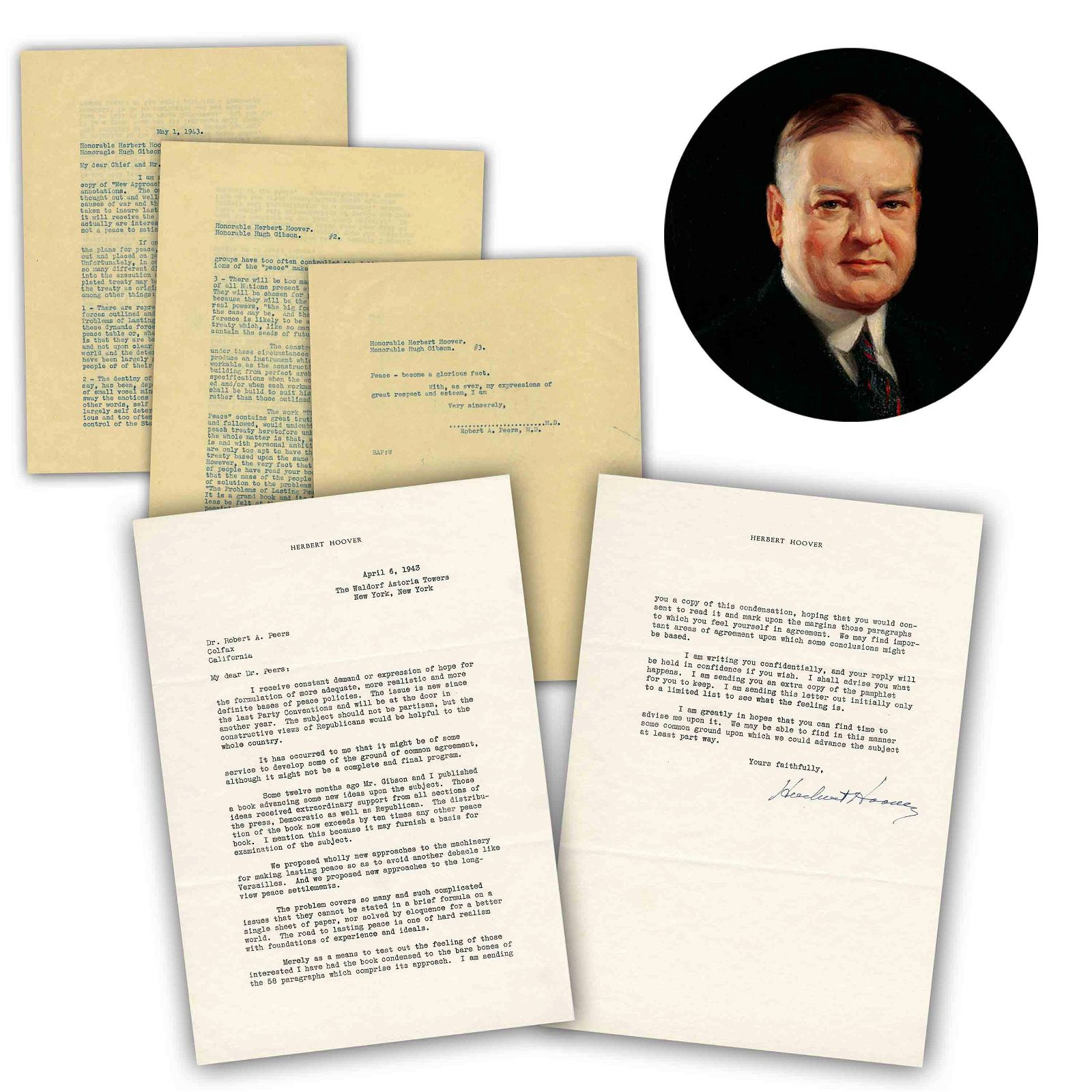 """H. Hoover WWII Fantastic Peace Content TLS Re: """"The"""
