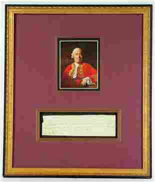 David Hume Extremely Rare Signed Note to His Dear