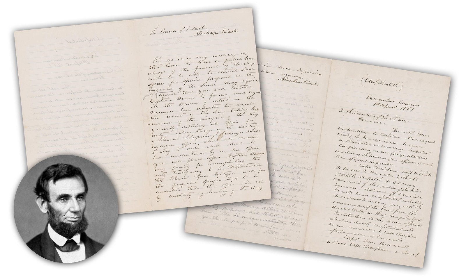 A. Lincoln 2x Signed Letter, Preparations for Civil War