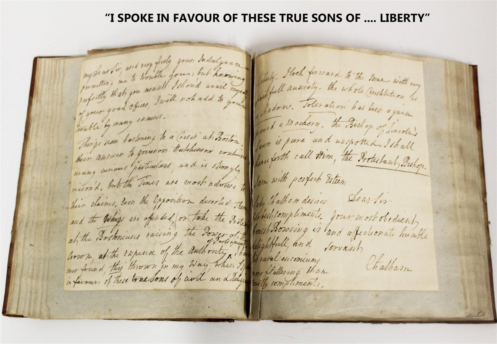"Wm. Pitt & Seeds of Rev. War ""I spoke in favour of"