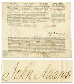 John Adams Four Language Ship's Papers Signed as