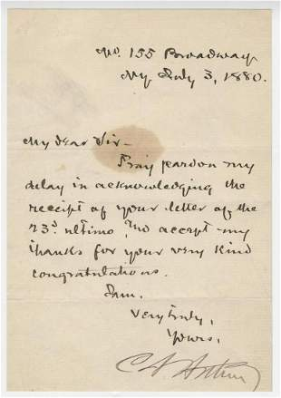 Chester Arthur Signed Letter, Just Post Republican