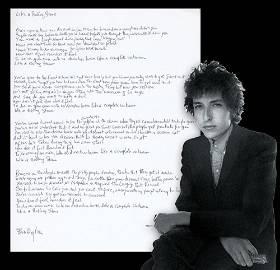 "Bob Dylan ""Like A Rolling Stone"" Handwritten Signed"