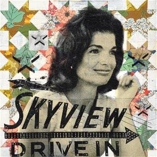 """Jackie's Skyview Drive In"", Original Mixed Media"